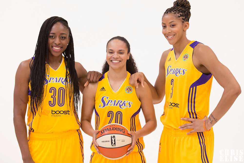 Los Angeles Sparks forward Nneka Ogwumike (30), Los Angeles Sparks guard Kristi Toliver (20), Los Angeles Sparks forward/center Candace Parker (3)