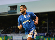 Portsmouth striker Gareth Evans turns to celebrates an own goal by Hartlepool United Defender Adam Jackson during the Sky Bet League 2 match between Portsmouth and Hartlepool United at Fratton Park, Portsmouth, England on 12 December 2015. Photo by Adam Rivers.