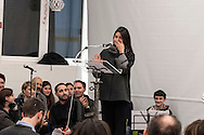 "ROME, ITALY -  DECEMBER 24:  Rome Mayor Virgina Raggi  recoils  and crying  during  a speech held during  Christmas Mass at the hostel ""Don Luigi Di Liegro"" to Termini Station, with the  guests of Caritas on December 24, 2016 in Rome, Italy. (Photo by Stefano Montesi/Corbis via Getty Images)"