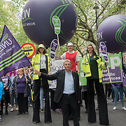 """Dave Prentis is a General Secretary of UNISON join the TUC march in London for """"A new deal for working people"""" on 12 May 2018, London, UK."""