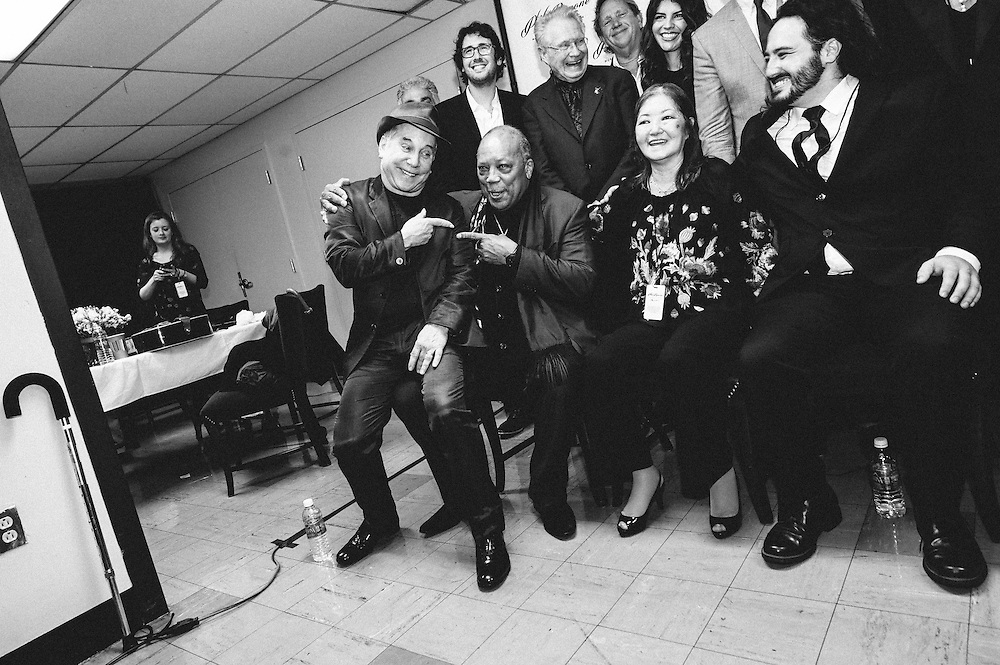 Photos of Paul Simon and Quincy Jones backstage at the Phil Ramone Music Memorial Celebration concert event at Salvation Army Theater, NYC. May 11, 2013. Copyright © 2013 Matthew Eisman. All Rights Reserved