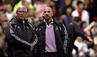 Photo: Paul Thomas.<br /> Manchester United v Europe XI. Friendly match. 13/03/2007.<br /> <br /> Europe's manager Marcello Lippi (L) and ex-Chelsea manager Gianluca Vialli talk before the match.