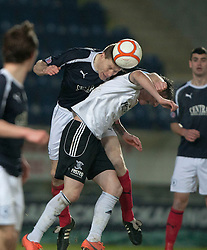 Falkirk's Darren Dods over Livingston's Jordan Morton..Falkirk 2 v 0 Livingston, 19/2/2013..©Michael Schofield.