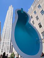 """Elmgreen & Dragset """"Van Gog's Ear"""" at the Channel Garden of Rockefeller Center."""