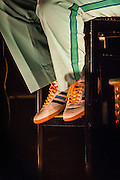 A look at the footware worn by Team Zissou in the movie Life Aquatic as Seu Jorge performs at The Union Transfer in Philadelpia, PA.