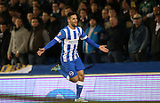 Sam Baldock, Brighton striker scores a goal to make it 1-0 to Brighton during the Sky Bet Championship match between Brighton and Hove Albion and Leeds United at the American Express Community Stadium, Brighton and Hove, England on 24 February 2015.