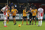 Lujke Berry celebrates his second goal and Canmbridge's third of the game<br />  during the EFL Sky Bet League 2 match between Cambridge United and Cheltenham Town at the R Costings Abbey Stadium, Cambridge, England on 26 November 2016. Photo by Antony Thompson.