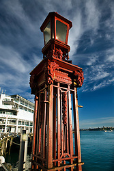 A red, ornately decorated light pole, Princes Wharf, Auckland, New Zealand