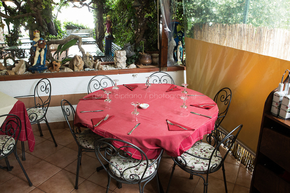 ANACAPRI, ITALY - 22 JULY 2014: The table where Mayor of New York Bill De Blasio and his family spent the second part of the evening after having dinner at the &quot;Trattoria Il Solitario&quot; restaurant in Anacapri, a small comune on the island of Capri, Italy, on July 22nd 2014.<br /> <br /> New York City Mayor Bill de Blasio arrived in Italy with his family Sunday morning for an 8-day summer vacation that includes meetings with government officials and sightseeing in his ancestral homeland.