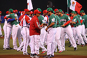 MEXICO CITY - MARCH 12: Team Manager Higinio Velez #39 (front left) of Cuba shakes hands and exchanges gifts with Team Manager Vinny Castilla #9 of Mexico as their teams prepare to face each other in Pool B, game 6 in the first round of the 2009 World Baseball Classic at Foro Sol Stadium in Mexico City, Mexico, on Thursday March 12, 2009. Cuba got a mercy rule win over Mexico by virtue of a 16-4 score in the seventh inning. (Photo by Paul Spinelli/WBCI/MLB Photos) *** Local Caption *** Higinio Velez;Vinny Castilla