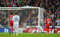 MADRID, SPAIN - Tuesday, November 4, 2014: Real Madrid CF's Karim Benzema scores the only goal of the game against Liverpool during the UEFA Champions League Group B match at the Estadio Santiago Bernabeu. (Pic by David Rawcliffe/Propaganda)