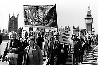 Pensioners march and protest through central London in 1986