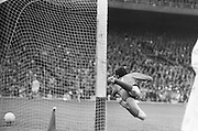Dublin goalie fails to save the ball during the All Ireland Senior Gaelic Football Championship Final Dublin V Galway at Croke Park on the 22nd September 1974. Dublin 0-14 Galway 1-06.