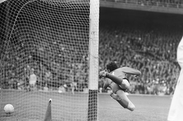 Dublin goalie fails to save the ball during the All Ireland Senior Gaelic Football Championship Final Dublin V Galway at Croke Park on the 22nd September 1974. Dublin 0-14 Galway 1-06.
