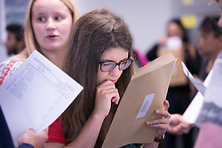 © Licensed to London News Pictures. 18/08/2016. Solihull School students receiving their A Level results earlier today. Pictured, Megan Lloyd checks her results. Photo credit: Dave Warren/LNP