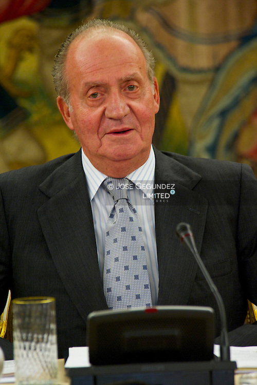 King Juan Carlos I attends the Meeting of the Board of the Royal Spanish Academy Foundation at Palacio de la Zarzuela in Madrid.<br /> It is the first audience of the King Juan Carlos I after his medical operation
