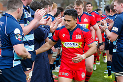 Winger David Lemi (capt) leads his team through the tunnel after Bristol win the match 16-45 to take a 29 point lead into the 2nd leg at Ashton Gate - Mandatory byline: Rogan Thomson/JMP - 01/05/2016 - RUGBY UNION - Goldington Road - Bedford, England - Bedford Blues v Bristol Rugby - Greene King IPA Championship Play Off Semi Final 1st Leg.