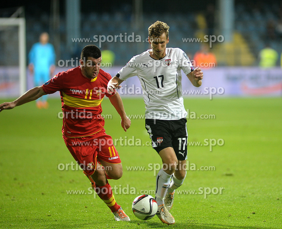 09.10.2015, Gradski Stadion, Podgorica, MNE, UEFA Euro Qualifikation, Montenegro vs Oesterreich, Gruppe G, im Bild Fatos Beciraj, Florian Klein // during the UEFA EURO 2016 qualifier group G match between Montenegro and Austria at the Gradski Stadion in Podgorica, Montenegro on 2015/10/09. EXPA Pictures © 2015, PhotoCredit: EXPA/ Risto Bozovic