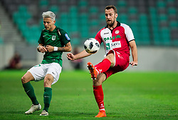 Stefan Savic of NK Olimpija vs Josip Zeba of NK Aluminij during football match between NK Aluminij and NK Olimpija Ljubljana in the Final of Slovenian Football Cup 2017/18, on May 30, 2018 in SRC Stozice, Ljubljana, Slovenia. Photo by Vid Ponikvar / Sportida