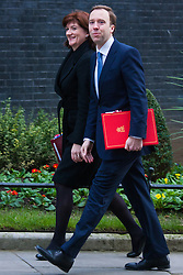 Downing Street, London, January 27th 2015. Ministers attend the weekly cabinet meeting at Downing Street. PICTURED: Education Secretary and Minister for Women and Equalities  Nicky Morgan arrives with Minister of State for Energy, Minister of State for Business and Enterprise Matthew Hancock.