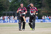 Jim Allenby and Peter Trego walk of after securing a 9 wicket win for Somerest at the end of the NatWest T20 Blast South Group match between Middlesex County Cricket Club and Somerset County Cricket Club at Uxbridge Cricket Ground, Uxbridge, United Kingdom on 26 June 2015. Photo by David Vokes.