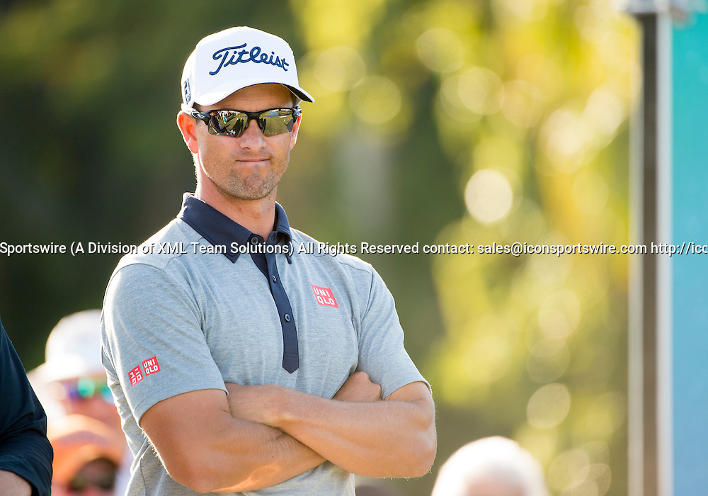 27 February 2016: Adam Scott during the third round of the Honda Classic at the PGA National Resort & Spa in Palm Beach Gardens, FL.