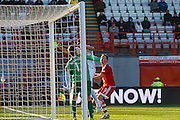 Hamilton Academical Goalkeeper Michael McGovern can only watch the shot bounce off the bar during the Ladbrokes Scottish Premiership match between Hamilton Academical FC and Aberdeen at New Douglas Park, Hamilton, Scotland on 22 November 2015. Photo by Craig McAllister.