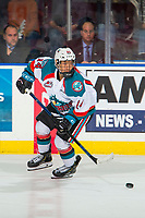KELOWNA, CANADA - FEBRUARY 2: Trevor Wong #14 of the Kelowna Rockets passes the puck against the Kamloops Blazers  on February 2, 2019 at Prospera Place in Kelowna, British Columbia, Canada.  (Photo by Marissa Baecker/Shoot the Breeze)