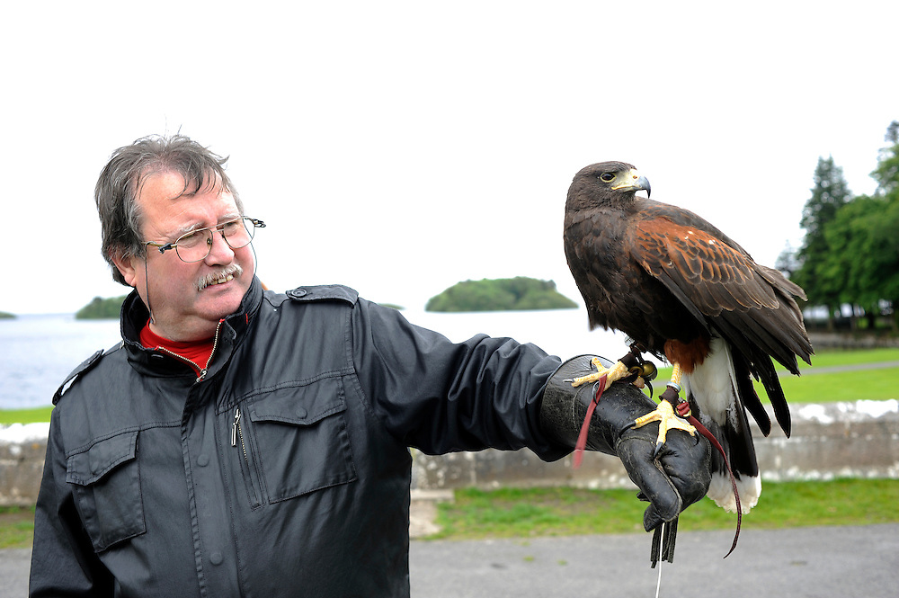 A man at a Falconry class at Ashford Castle in Cong, Co. Mayo, Ireland.
