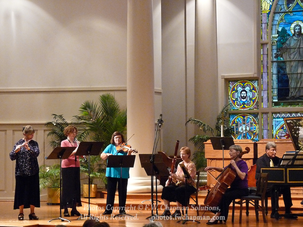 Valley Vivaldi players Robin Kani, flute, Cheryl Bishkoff, oboe, Mary Ogletree, violin, Susan Shaw, bassoon, Deborah Davis, cello, and Allan Birney, harpsichord, perform in a Sunday evening concert starting at 7:30 PM on July 19, 2009 at Wesley Church in Bethlehem, Pennsylvania, USA.