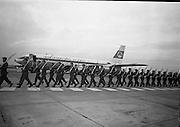 President Eamon De Valera and Irish Cadets leave for President Kennedy's funeral in Washington.  Irish Cadets carry their rifles to board the flight..24.11.1963