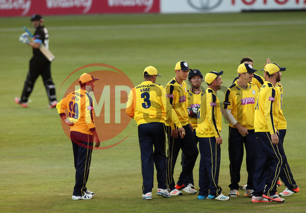 Hampshire celebrate the wicket of Sussex's Luke Wright - Photo mandatory by-line: Robbie Stephenson/JMP - Mobile: 07966 386802 - 19/06/2015 - SPORT - Cricket - Southampton - The Ageas Bowl - Hampshire v Sussex - Natwest T20 Blast