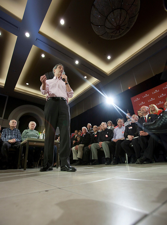 Liberal leader Michael Ignatieff speaks at a townhall discussion during a campaign stop in London, Ontario, March 31, 2011. <br /> AFP/GEOFF ROBINS/STR
