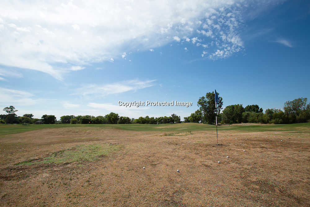 Brown grass at Stevinson Ranch Golf Course, located in Stevinson, Merced County, Northern California. The golf course iclosed down July 18 due to the severe drought and water scarcity.