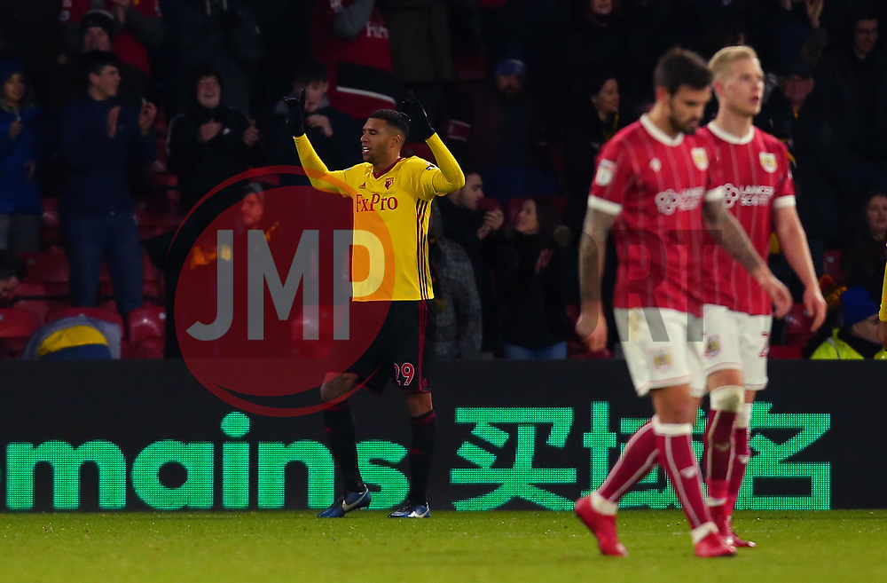 Etienne Capoue of Watford celebrates scoring a goal to make it 3-0 - Mandatory by-line: Robbie Stephenson/JMP - 06/01/2018 - FOOTBALL - Vicarage Road - Watford, England - Watford v Bristol City - Emirates FA Cup third round proper