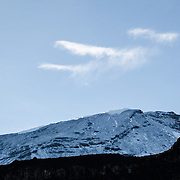 Mt Kilimanjaro's snow covered peak as seen in the morning from Moir Hut Camp (13,660 feet) on Mt Kilimanjaro's Lemosho Route.