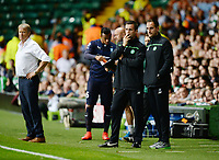 19/08/15 UEFA CHAMPIONS LEAGUE PLAY-OFF 1ST LEG<br /> CELTIC V MALMO<br /> CELTIC PARK - GLASGOW<br /> Celtic manager Ronny Deila and coach John Kennedy (right) in the dugout.