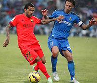 Getafe´s Alexis (R) and Barcelona´s Dani Alves during 2014-15 La Liga match at Coliseum Alfonso Perez stadium in Madrid, Spain. December 13, 2014. (ALTERPHOTOS/Victor Blanco)