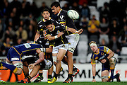 TJ Va'a of Wellington makes a pass during the Mitre 10 Competition match between Otago and Wellington at Forsyth Barr Stadium on August 25, 2016 in Dunedin, New Zealand. Credit: Joe Allison / www.Photosport.nz