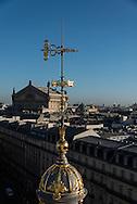 France. Paris. 9th district. elevated view on Paris cityscape and rooftops view from from the terrace  of the Printemps department store  panorama de paris et les toits vu depuis la terrasse du printemps hausmann,