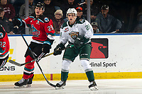 KELOWNA, BC - SEPTEMBER 28:  Dylan Anderson #21 of the Everett Silvertips looks for the pass alongside Nolan Foote #29 of the Kelowna Rockets  at Prospera Place on September 28, 2019 in Kelowna, Canada. (Photo by Marissa Baecker/Shoot the Breeze)