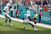 Miami Dolphins defensive end Terrence Fede (78) looks on as Miami Dolphins rookie wide receiver Jakeem Grant (19) starts to celebrate as he scores a touchdown on a 74 yard punt return that ties the second quarter score at 7-7 during the 2016 NFL week 5 regular season football game against the Tennessee Titans on Sunday, Oct. 9, 2016 in Miami Gardens, Fla. The Titans won the game 30-17. (©Paul Anthony Spinelli)