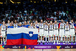 Team Slovenia singing National Anthem at Trophy ceremony after winning during the Final basketball match between National Teams  Slovenia and Serbia at Day 18 of the FIBA EuroBasket 2017 when Slovenia became European Champions 2017, at Sinan Erdem Dome in Istanbul, Turkey on September 17, 2017. Photo by Vid Ponikvar / Sportida