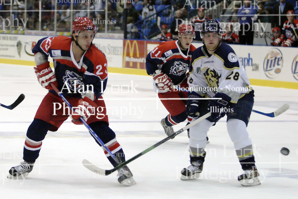 11 November 2006: Tommy Kotsopoulos (23) and Jon Jankus watch Tommy's shot on goal.&#xD;The Elmira Jackals met the Bloomington PrairieThunder at the U.S. Cellular Coliseum in Bloomington Illinois.<br />