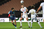 Wycombe Wanderers striker Scott Kashket (11) heads the ball at goal during the EFL Trophy match between Milton Keynes Dons and Wycombe Wanderers at stadium:mk, Milton Keynes, England on 12 November 2019.