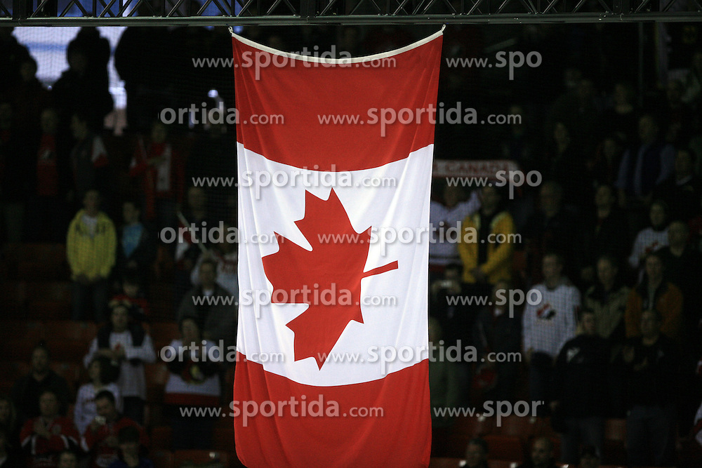 Canadian flag after ice-hockey game Canada vs Germany in Qualifying Round Group F, at IIHF WC 2008 in Halifax,  on May 10, 2008 in Metro Center, Halifax, Nova Scotia,Canada. Canada won 11:1. (Photo by Vid Ponikvar / Sportal Images)