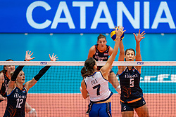 04-08-2019 ITA: FIVB Tokyo Volleyball Qualification 2019 / Netherlands, - Italy Catania<br /> last match pool F in hall Pala Catania between Netherlands - Italy for the Olympic ticket / (L-R) Britt Bongaerts #12 of Netherlands, Raphaela Folie #7 of Italy, Robin de Kruijf #5 of Netherlands