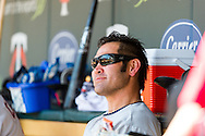 Cleveland Indians Johnny Damon sits in the dugout during a game against the Minnesota Twins at Target Field in Minneapolis, Minnesota on July 29, 2012.  The Twins defeated the Indians 5 to 1.  © 2012 Ben Krause