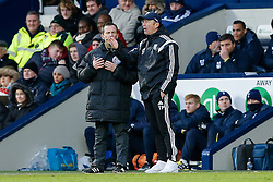 West Brom Manager Tony Pulis talks to the fourth official - Photo mandatory by-line: Rogan Thomson/JMP - 07966 386802 - 31/01/2015 - SPORT - FOOTBALL - West Bromwich, England - The Hawthorns - West Bromwich Albion v Tottenham Hotspur - Barclays Premier League.