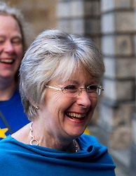 Pictured: Lawyer for the protestors Elaine Motion passed on the news to the waiting media<br /><br />Judges delayed ruling on a legal bid aimed at forcing the Prime Minister to send a letter requesting a Brexit extension if no withdrawal deal is reached by October 19<br /><br />Ger Harley | EEm 21 October 2019